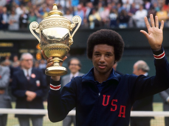 Arthur+Ashe+with+the+Wimbledon+trophy+after+winning+the+men%27s+singles+on+July+5%2C+1975.