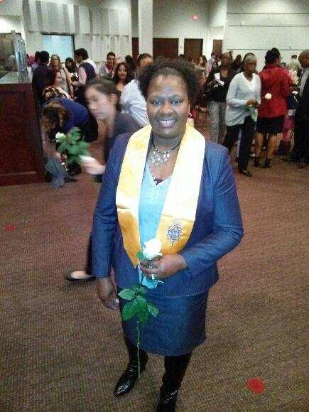 Mona Mosley at her Houston Community College Phi Theta Kappa Honor Society induction ceremony.