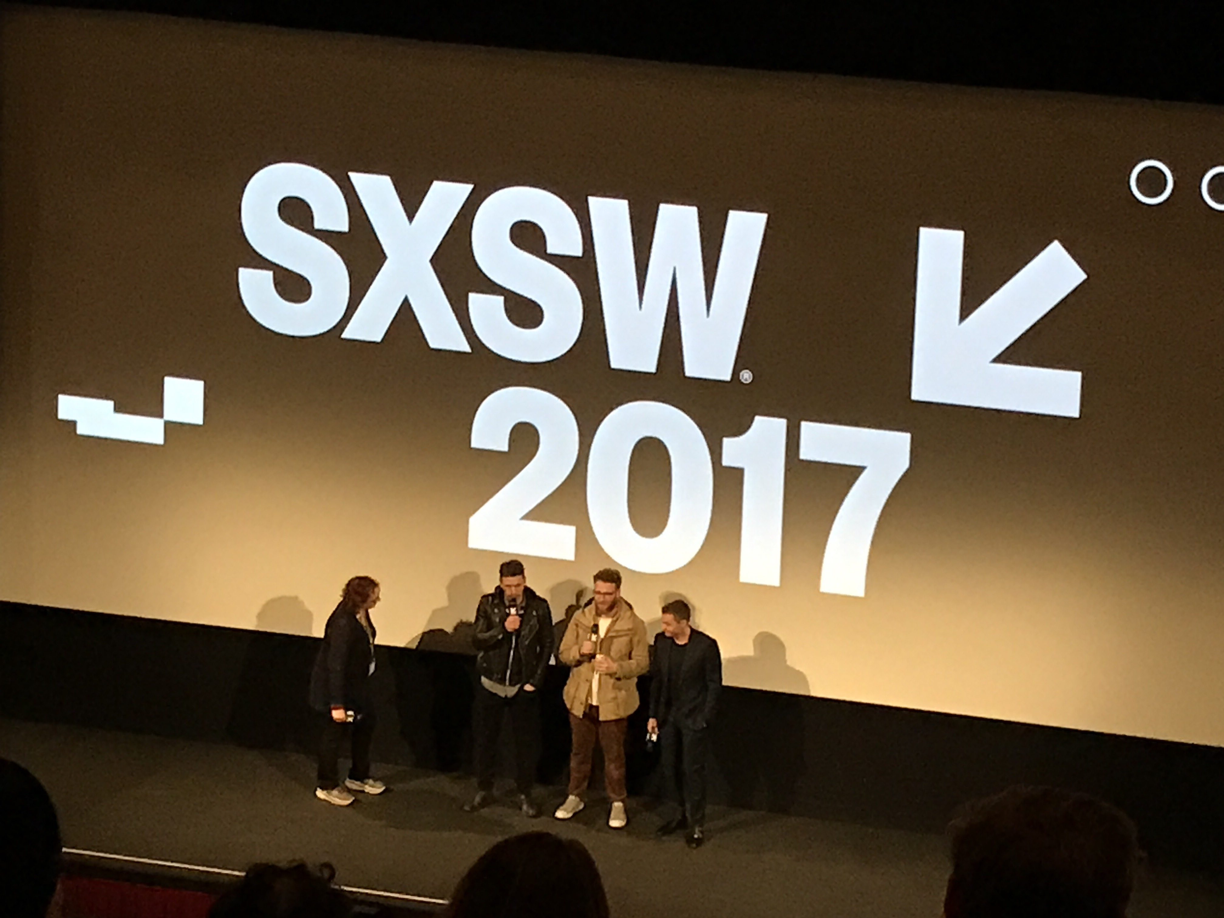 (Featured from left to right: Host, James Franco, Seth Rogen, Dave Franco) at SXSW 2017 'The Disaster Artist' movie premiere.