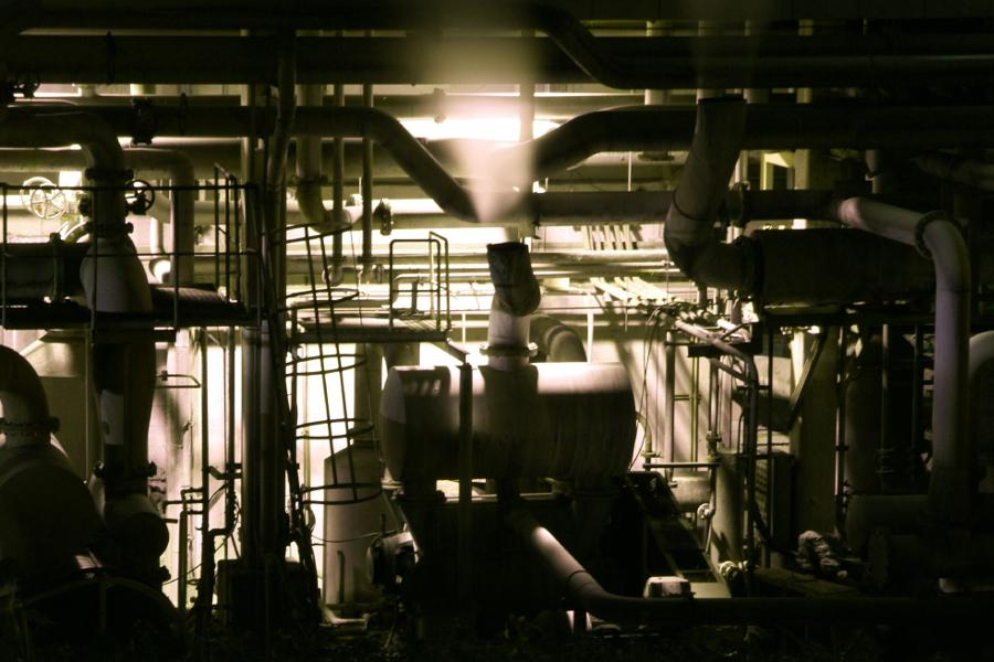 Piping at an unidentified industrial plant.