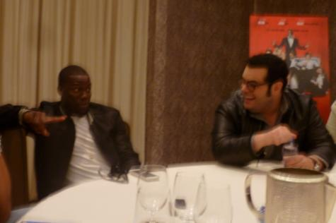 Co-stars Josh Gad and Kevin Hart discussing The Wedding Ringer at a round table interview in Houston, Friday Dec. 5. The Wedding Ringer is coming to theaters Jan. 16, 2015.