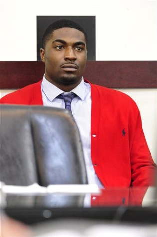 Former Vanderbilt football player Cory Batey listens during the second day of his trial Tuesday, Jan. 13, 2015, in Nashville, Tenn. Batey and Brandon Vandenberg are being tried on five counts of aggravated rape and two counts of aggravated sexual battery. Batey and Vandenberg are accused along with two of their former teammates of raping an unconscious student in a dorm at the Nashville university in June 2013. All have pleaded not guilty.