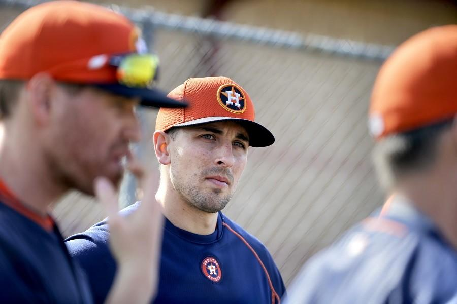 Houston+Astros+catcher+Jason+Castro+listens+during+a+drill+at+a+spring+training+baseball+workout%2C+Saturday%2C+Feb.+21%2C+2015%2C+in+Kissimmee%2C+Fla.