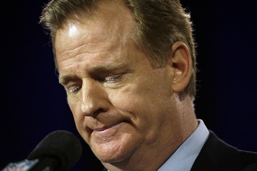 In+this+Jan.+30+photo%2C+NFL+Commissioner+Roger+Goodell+participates+in+a+news+conference+for+the+NFL+Super+Bowl+XLIX+football+game+in+Phoenix.+Goodell+said+during+the+Super+Bowl+great+progress+had+been+made+regarding+conduct+across+the+league.+Yet+early+into+2015%2C+there+have+been+more+than+a+half-dozen+players+arrested%2C+a+star+suspended%2C+an+agent+indicted%2C+a+popular+player+entering+rehab+and+a+Hall+of+Famer+fired.