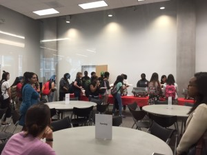 Students waiting in line for free lunch and discussion with HCC alumni about the universities they are attending now, including the University of Texas, University of Houston-Downtown and Texas Women's University.