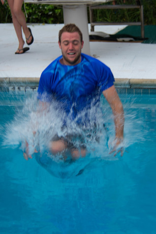 Sock does a flip into the pool after claiming title in Houston.