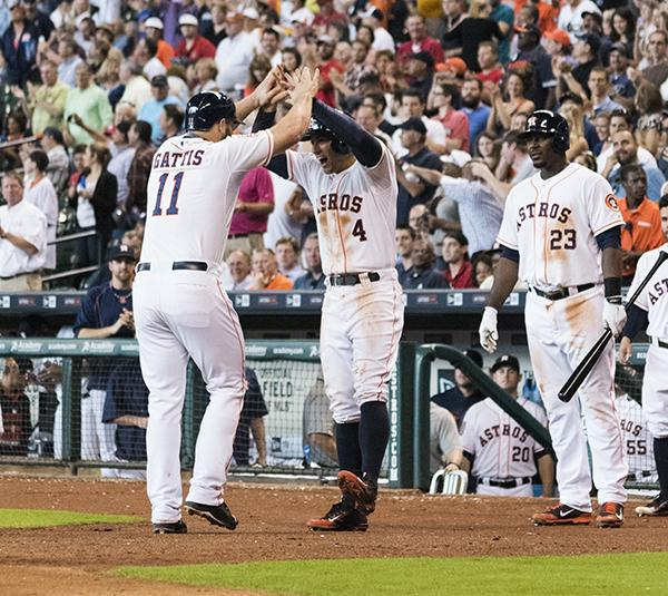 Gattis greater by Springer after his Home run against the Oakland A's