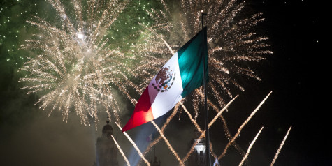 MEXICO CITY, MEXICO  SEPTEMBER 16:  Fireworks explode at the Mexico City Zocalo during the anniversary of the 'Grito de Dolores' made by the priest Miguel Hidalgo in 1810
