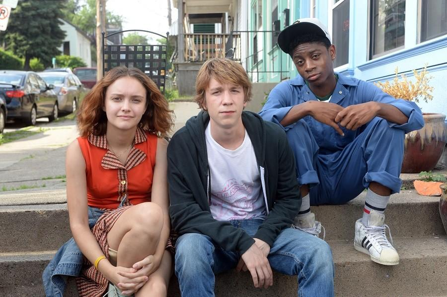 This photo provided by Fox Searchlight Pictures shows, Olivia Cooke, from left, as Rachel, Thomas Mann as Greg, and RJ Cyler as Earl, in a scene from the film, Me and Earl and The Dying Girl.