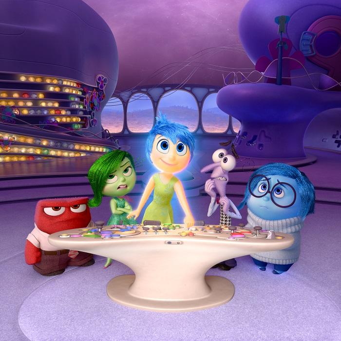 In this image released by Disney-Pixar, characters, from left, Anger, voiced by Lewis Black, Disgust, voiced by Mindy Kaling, Joy, voiced by Amy Poehler, Fear, voiced by Bill Hader, and Sadness, voiced by Phyllis Smith appear in a scene from