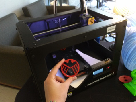 This Agents of Shield logo was printed on the MakerBot in the South hallway of the Stafford campus Scarcella center.