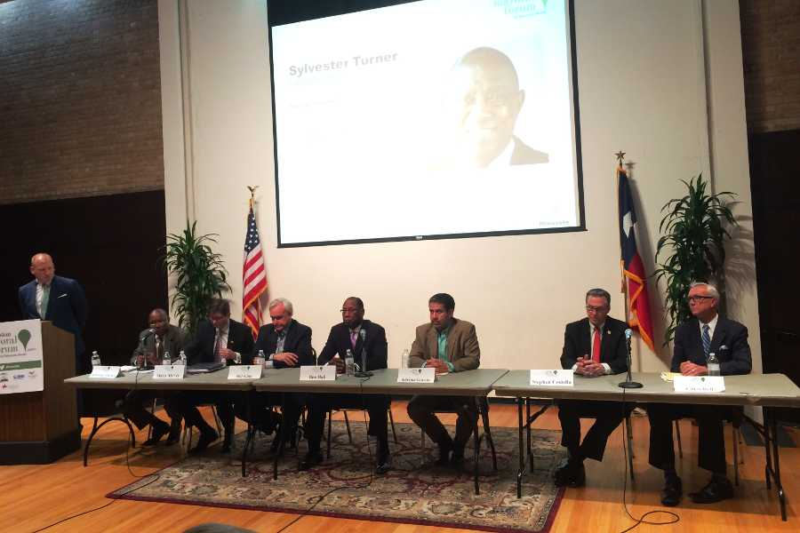 The top seven polling candidates in the City of Houston mayoral election explained their plans for mental health policy reform Monday night at a forum hosted at The University of St. Thomas. Seated from left to right are candidates Sylvester Turner, Marty McVey, Bill King, Ben Hall, Adrian Garcia, Steve Costello and Chris Bell. Elections are on Tuesday Nov. 3.
