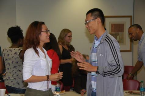 Society members at the Phi Theta Kappa-Omega Sigma meeting on Sept. 4