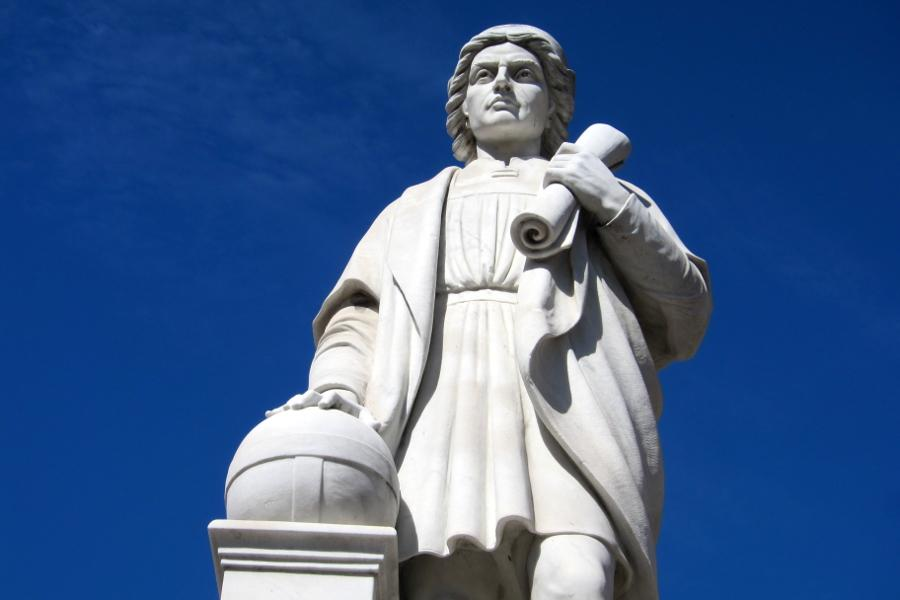 The Christopher Columbus Monument in the Harbor East neighborhood of Baltimore, Maryland.
