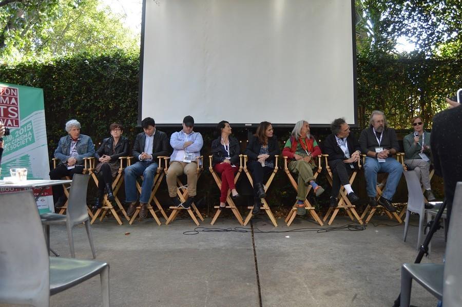 Line of Filmmakers (from left to right): Jack Walsh, Beth Harrington, Patrick Wang, Trey Schults, Katie Cokinos, Elizabeth Giammati, Kidlat Tahimik, Gordon Quinn, Steven Timm, and Dawn Johnson.