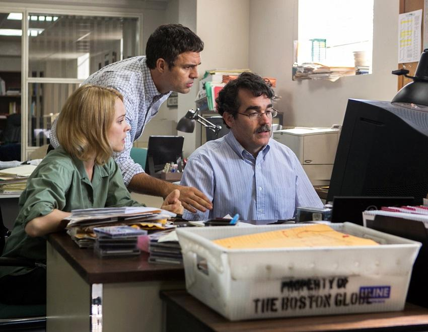 This photo provided by courtesy of Open Road Films shows, Rachel McAdams, from left, as Sacha Pfeiffer, Mark Ruffalo as Michael Rezendes and Brian d'Arcy James as Matt Carroll, in a scene from the film,