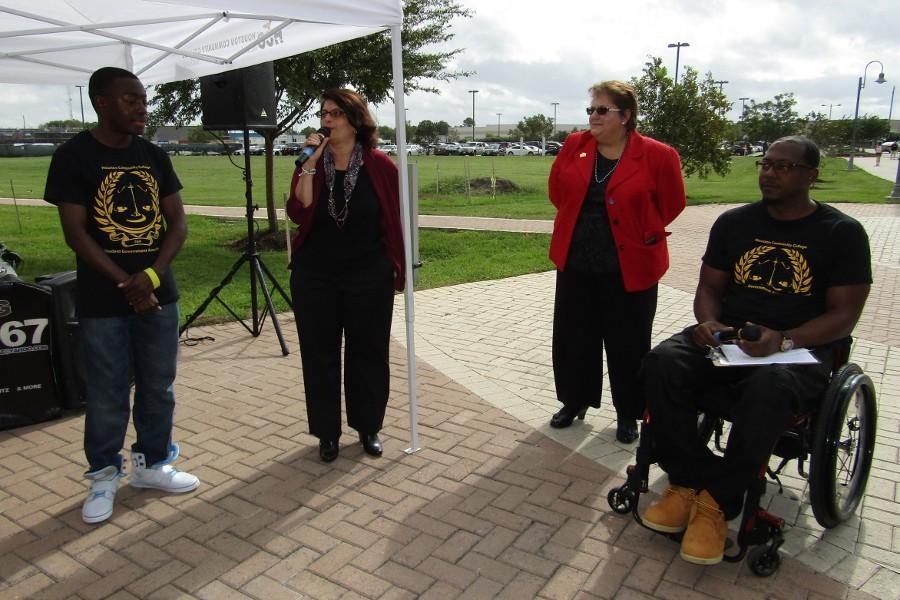 From left to right are Southwest Student Government Association Vice President Ayo Shofoluwe, HCC Board of Trustee Neeta Sane, Southwest Interim President Madeline Burillo and Southwest Student Government Association President Charles Tolden. Here, Sane addresses students at the People for Purpose Pep Rally after Burillo at the Stafford campus Nov. 11.