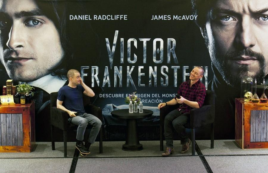 Actors+Daniel+Radcliffe%2C+left%2C+and+James+McAvoy+talk+to+the+media+at+an+event+promoting+their+film+%22Victor+Frankenstein%22+in+Mexico+City%2C+Saturday%2C+Nov.+14.+