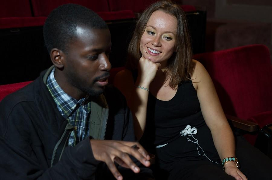 The Egalitarian's Emmanuel Akinola (left) interviews Anastasia Navarro (right), who plays the plays leading lady Sonia Walsk in HCC Central's production of 'They're Playing Our Song'.