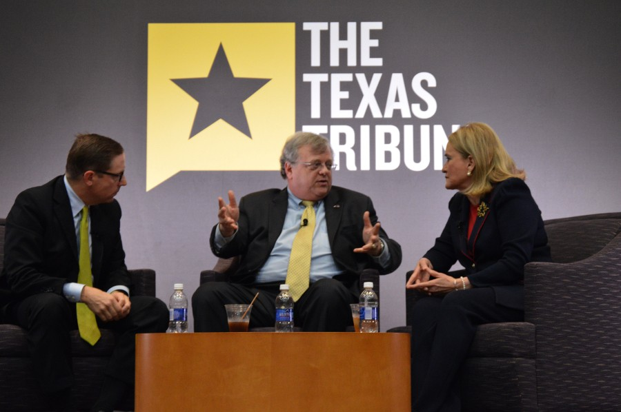 The Texas Tribune hosted the 'Houston & The Legislature: What's Next?' panel discussion on Tuesday at the George R. Brown convention center. Left is Moderator Evan Smith, CEO & Editor in Chief of The Texas Tribune. Center is Republican State Senator Paul Bettencourt. Right is  Democratic State Senator Sylvia Garcia.