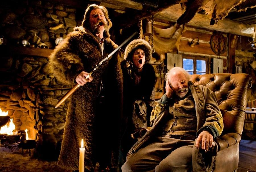 This photo provided by The Weinstein Company shows, Kurt Russell, from left, Jennifer Jason Leigh, and Bruce Dern, in a scene from the film, The Hateful Eight, directed by Quentin Tarantino. The movie opens in U.S. theaters on Jan. 1.