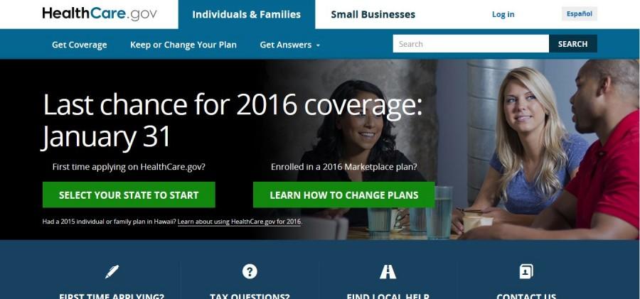 Screenshot of the Healthcare.gov website, Jan. 26.