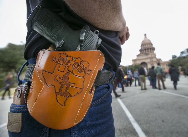 Activists held an open carry rally at the Texas state capital on Jan. 1, 2016 in Austin, Texas.