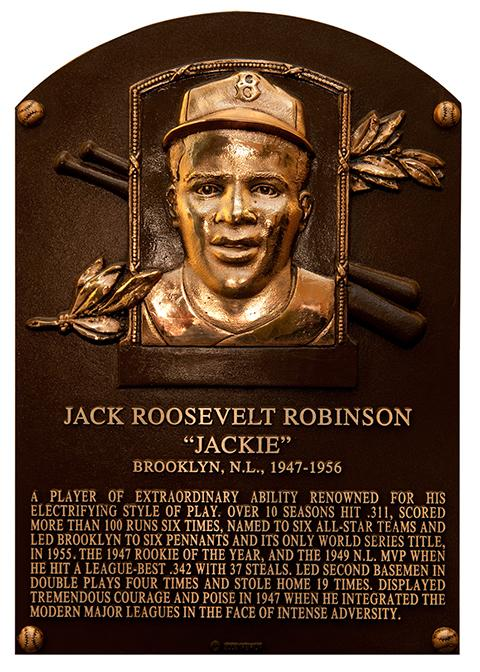 Jackie+Robinson%27s+plaque+that+hangs+in+the+Hall+of+Fame.
