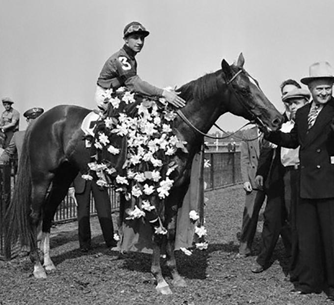 Jockey Eddie Arcaro on Whirlaway at the Belmont Stakes