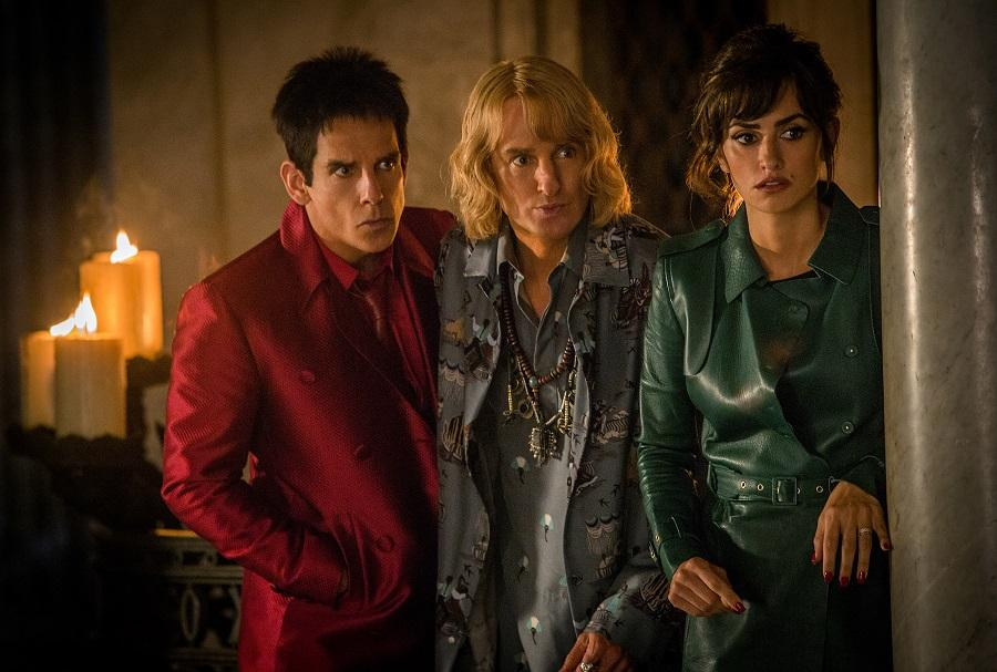 In this image released by Paramount Pictures, Ben Stiller as Derek Zoolander, from left, Owen Wilson as Hansel and Penelope Cruz as Valentina Valencia in a scene from the film,