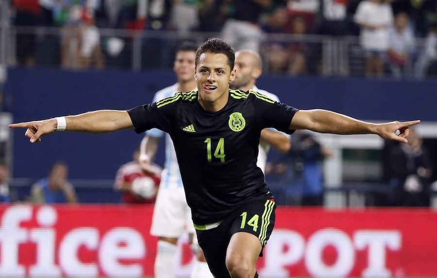 In this Sept. 8, 2015, file photo, Mexico's Javier Hernandez  celebrates after scoring a penalty kick during a friendly soccer match against Argentina at the AT&T Stadium in Arlington, Texas. (AP Photo/Tony Gutierrez, File)