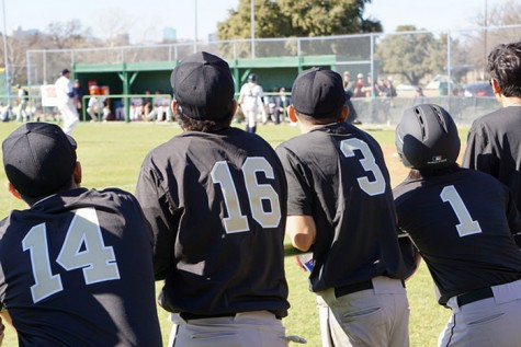 Baseball team looking on and supporting their teammate at the plate.