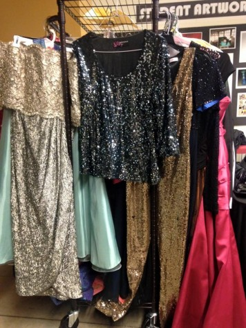Some of the prom clothes HCC students donate for Mia's Closet.
