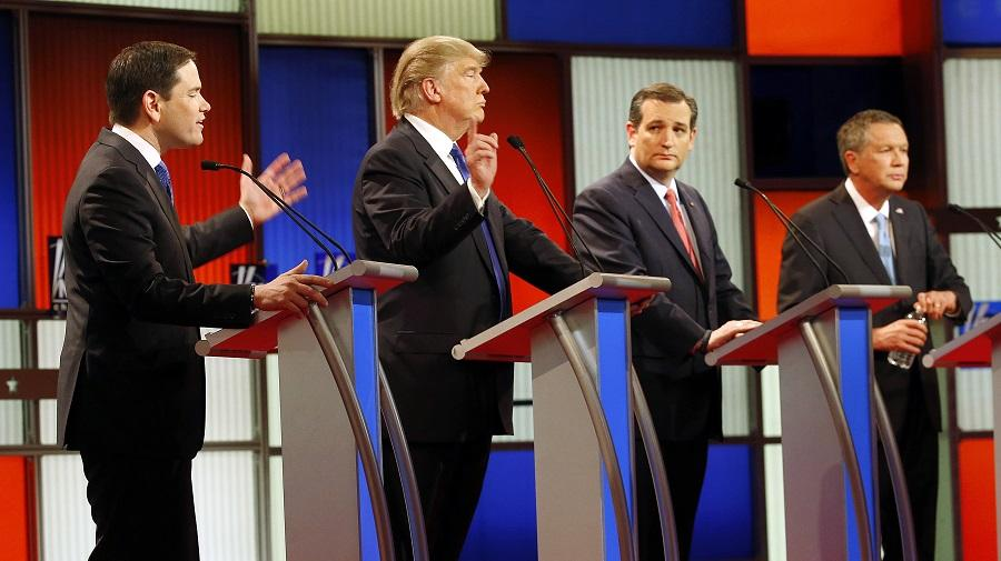 In this Feb. 25 photo, Republican presidential candidates, from left, Sen. Marco Rubio, R-Fla., Donald Trump, Sen. Ted Cruz, R-Texas, and Ohio Gov. John Kasich debate take part in the Republican presidential primary debate at the University of Houston in Houston.
