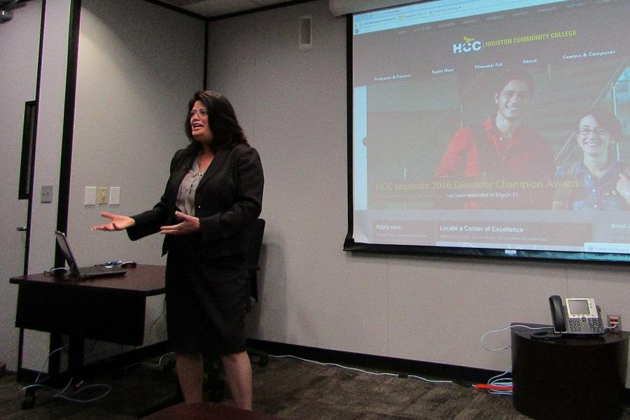 HCC Board of Trustees Chair Adriana Tamez speaks to student leaders at the United Student Council meeting March 11.