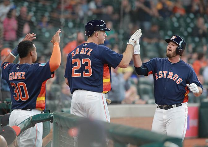Houston+Astros%27+Tyler+White+is+greeted+by+teammates+Erik+Kratz+and+Carlos+Gomez+after+his+solo+home+run+against+the+Milwaukee+Brewers+in+the+second+inning+of+an+exhibition+baseball+game+Friday%2C+April+1%2C+2016+in+Houston.++