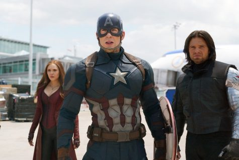This image released by Disney shows Elizabeth Olsen, left, Chris Evans and Sebastian Stan in a scene from Marvel's