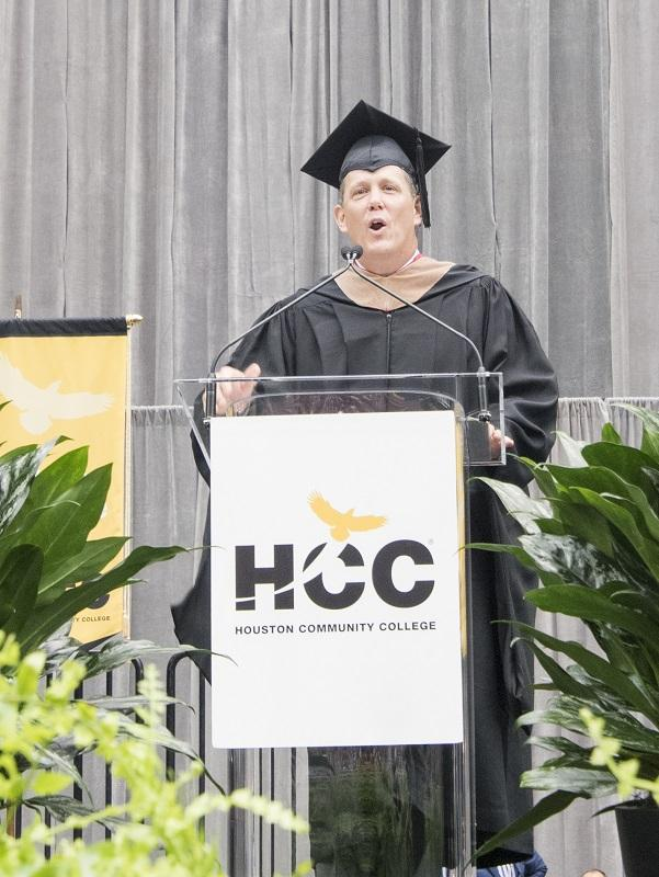 Houston Texans President Jamey Roots was the keynote speaker at commencement.