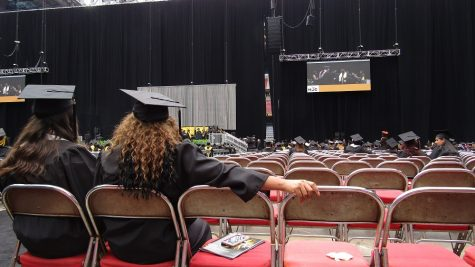 Most graduates left commencement after walking across stage. This image was taken while the last five rows were walking at graduation Saturday, May 14.