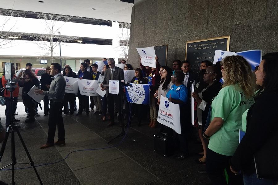Supporters of the resolution putting HCC on record as supporting the Texas Dream Act rallied outside the college administrative building before the vote on Thursday. Houston City Council Member Robert Gallegos spoke in favor of the resolution at the rally.