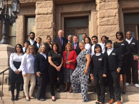 Board of Trustees Chair Eva Loredo, and trustees Adriana Tamez, Carolyn Evans-Shabazz, Robert Glaser and John Hansen pose with HCC staff and students on the steps of the Texas State Capitol on Community College Day on Feb 7.