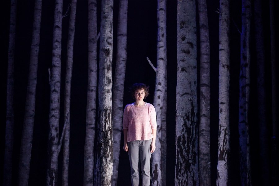 Lucy Mangan (Eli) in Let The Right One In. Image courtesy of  Lawrence Peart / Alley Theatre
