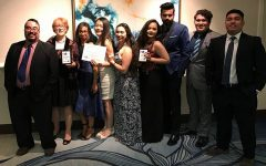 Omega Sigma Chapter advisors and student officers poise with awards won at the Texas Regional Convention. From left to right: Advisor for Northwest and Coleman Colleges Nicolas Rangel; Advisor for Central and Southeast Colleges Gisela Ables; Advisor for Southwest and Northeast Colleges Nichole Boutte-Heiniluoma; Vice President of Service Nhu Le; Public Relations Officer Rebecca De La Cruz; VP of Administrative Service Tazeen Fatima; VP of Leadership Furqan Khan; President Josue Rodriguez; VP of Scholarship Jamie Manaay; not present VP of Membership Thao Nguyen.