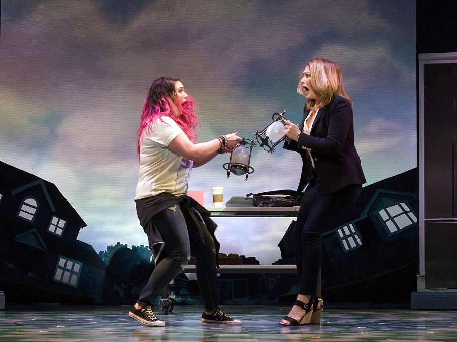 Emma Hunton (left) and Heidi Blickenstaff in Disney's Freaky Friday, book by Bridget Carpenter, music by Tom Kitt, lyrics by Brian Yorkey, and directed by Christopher Ashley. Photo by Jim Carmody, courtesy of Alley Theatre.