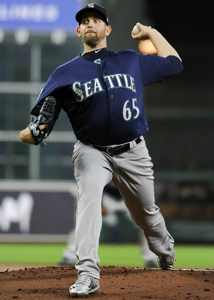 Seattle Mariners starting pitcher James Paxton delivers during the first inning. (AP Photo/Eric Christian Smith)