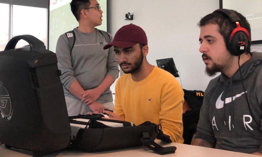Omar Ibrahim (left) vs. Kubilay in February's FIFA 19 tournament. (Photo: Joey Garcia/The Egalitarian)