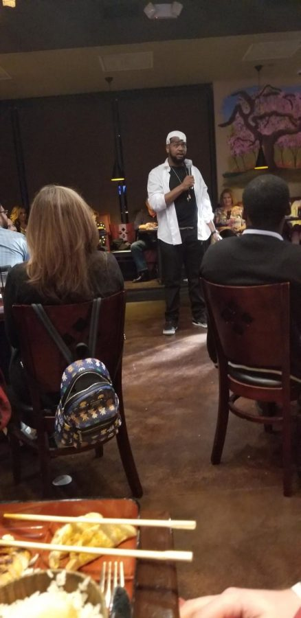 Comedian Chinedu Ogu entertains the audience at the Rising Sun Sushi & Fusion Resuatrant in Humble