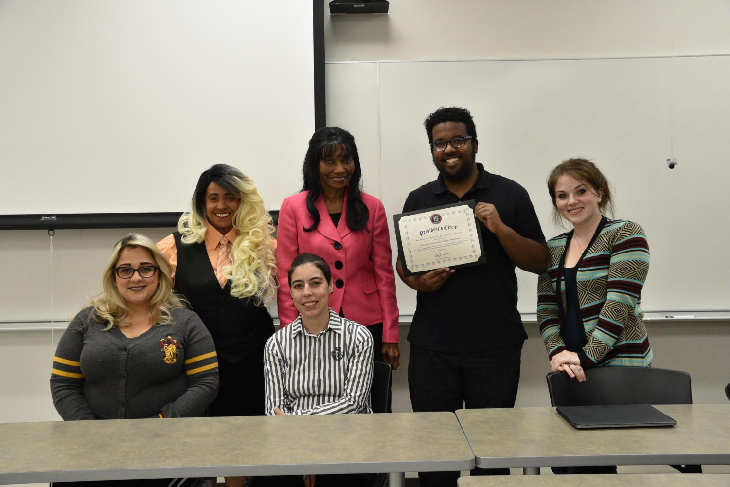 NSLS Southeast Chapter Executive Board (from left, standing: Advisers Tina Williams and Dr. Johnella Bradford, Chapter President Fathy Elsayem, Co-Vice President Kristen Chersky; from left, sitting: SNT Coordinator Martha Molina, and Vice President Filipa Ivo.