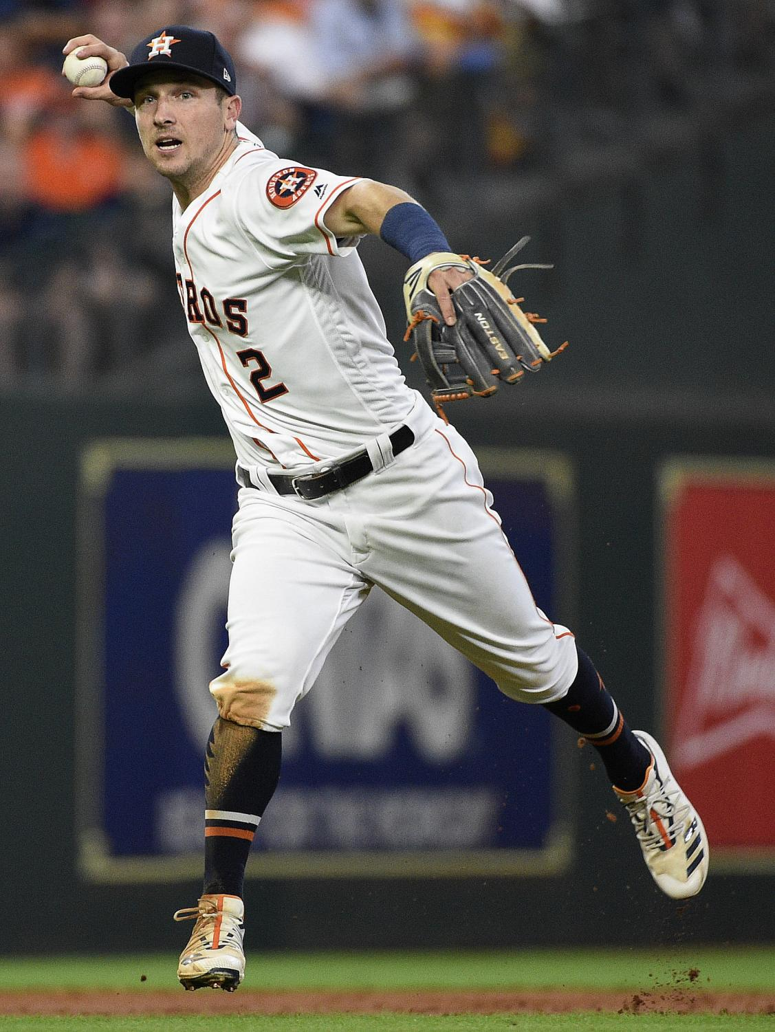 Houston Astros shortstop Alex Bregman throws out Milwaukee Brewers' Lorenzo Cain during the third inning of a baseball game Wednesday, June 12, 2019, in Houston. (AP Photo/Eric Christian Smith)
