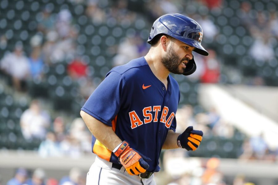 Houston+Astros%27+Jose+Altuve+runs+to+first+base+after+getting+hit+with+a+pitch+during+the+fifth+inning+of+a+spring+training+baseball+game+against+the+Detroit+Tigers+Monday.